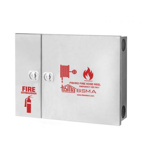 جعبه آتش نشانی درب استیل نقره ای مات خش دار دو کابین پیشرو